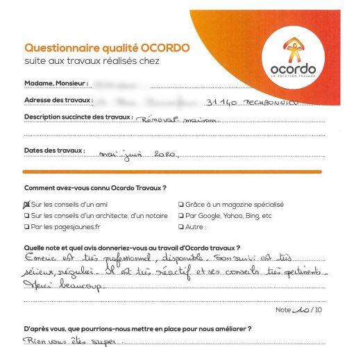Avis Ocordo rénovation Toulouse
